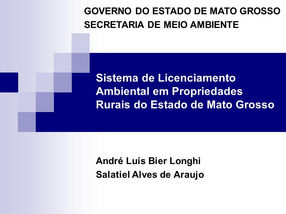 Sistema de Licenciamento Ambiental em Propriedades Rurais do Estado de Mato Grosso André Luís Bier Longhi Salatiel Alves de Araujo GOVERNO DO ESTADO D