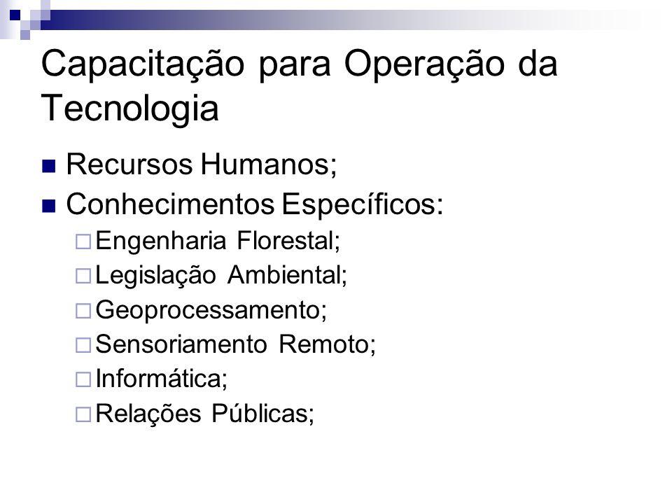 Capacitação para Operação da Tecnologia Recursos Humanos; Conhecimentos Específicos: Engenharia Florestal; Legislação Ambiental; Geoprocessamento; Sen
