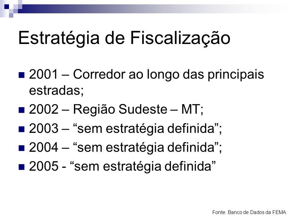 Estratégia de Fiscalização 2001 – Corredor ao longo das principais estradas; 2002 – Região Sudeste – MT; 2003 – sem estratégia definida; 2004 – sem es