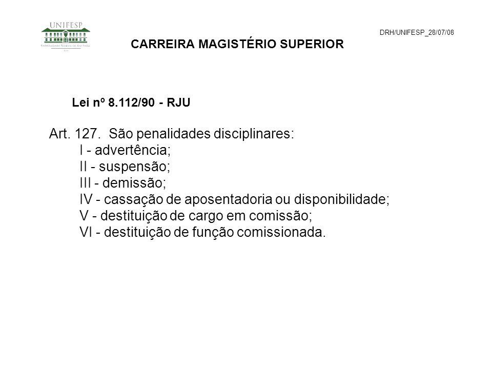 DRH/UNIFESP_28/07/08 CARREIRA MAGISTÉRIO SUPERIOR Art. 127. São penalidades disciplinares: I - advertência; II - suspensão; III - demissão; IV - cassa