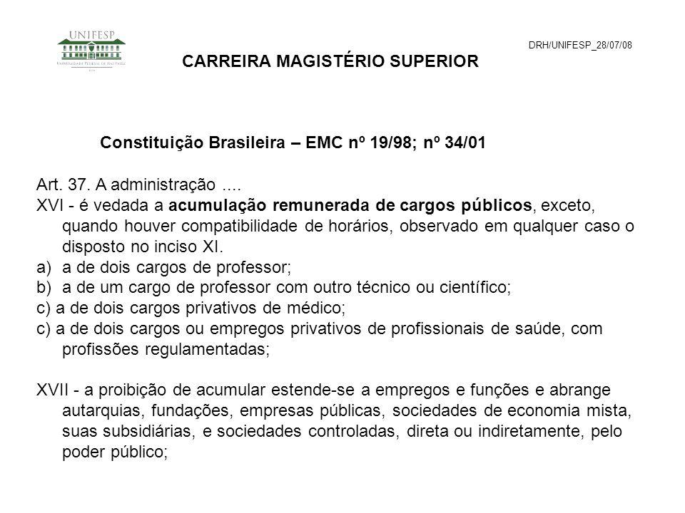 DRH/UNIFESP_28/07/08 CARREIRA MAGISTÉRIO SUPERIOR Art. 37. A administração.... XVI - é vedada a acumulação remunerada de cargos públicos, exceto, quan
