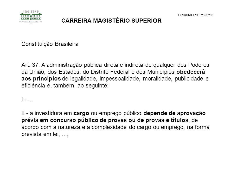 DRH/UNIFESP_28/07/08 CARREIRA MAGISTÉRIO SUPERIOR Constituição Brasileira. DRH/UNIFESP_28/07/08 CARREIRA MAGISTÉRIO SUPERIOR Constituição Brasileira A