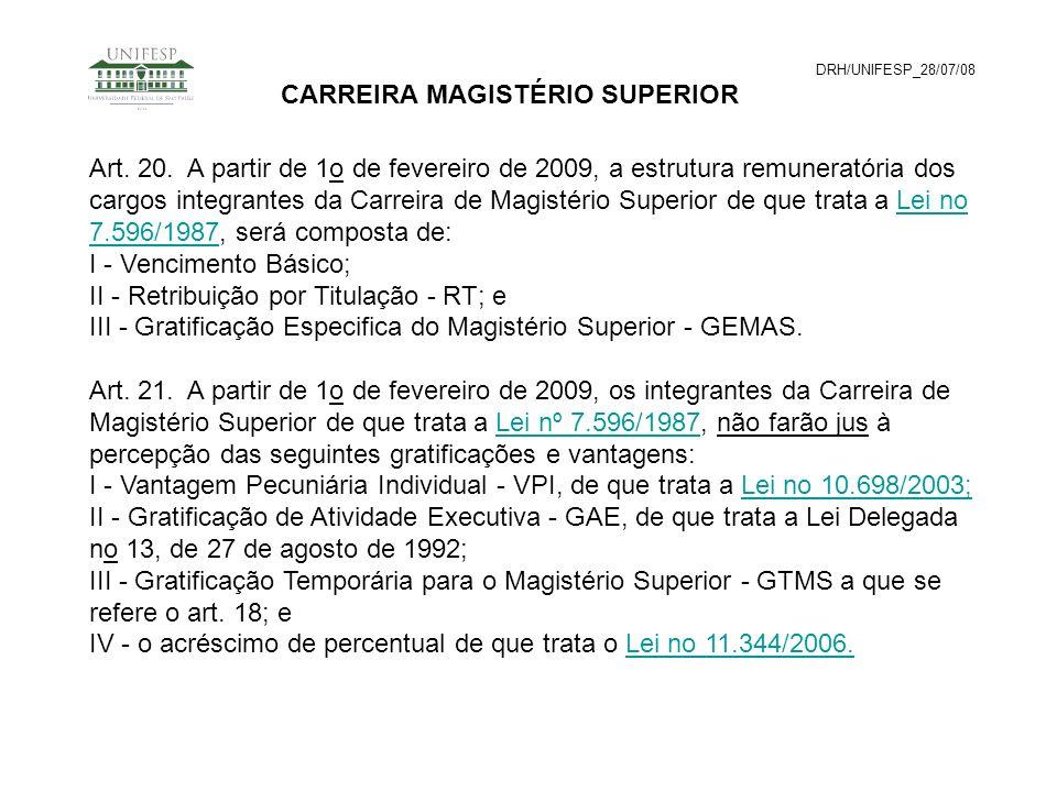 DRH/UNIFESP_28/07/08 CARREIRA MAGISTÉRIO SUPERIOR Art. 20. A partir de 1o de fevereiro de 2009, a estrutura remuneratória dos cargos integrantes da Ca