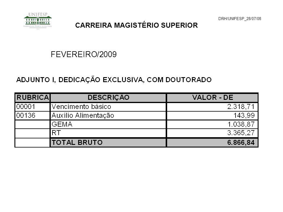 DRH/UNIFESP_28/07/08 CARREIRA MAGISTÉRIO SUPERIOR FEVEREIRO/2009