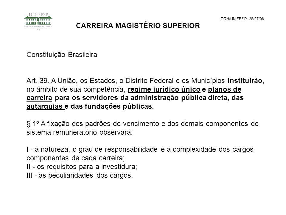 DRH/UNIFESP_28/07/08 CARREIRA MAGISTÉRIO SUPERIOR Constituição Brasileira Art. 39. A União, os Estados, o Distrito Federal e os Municípios instituirão