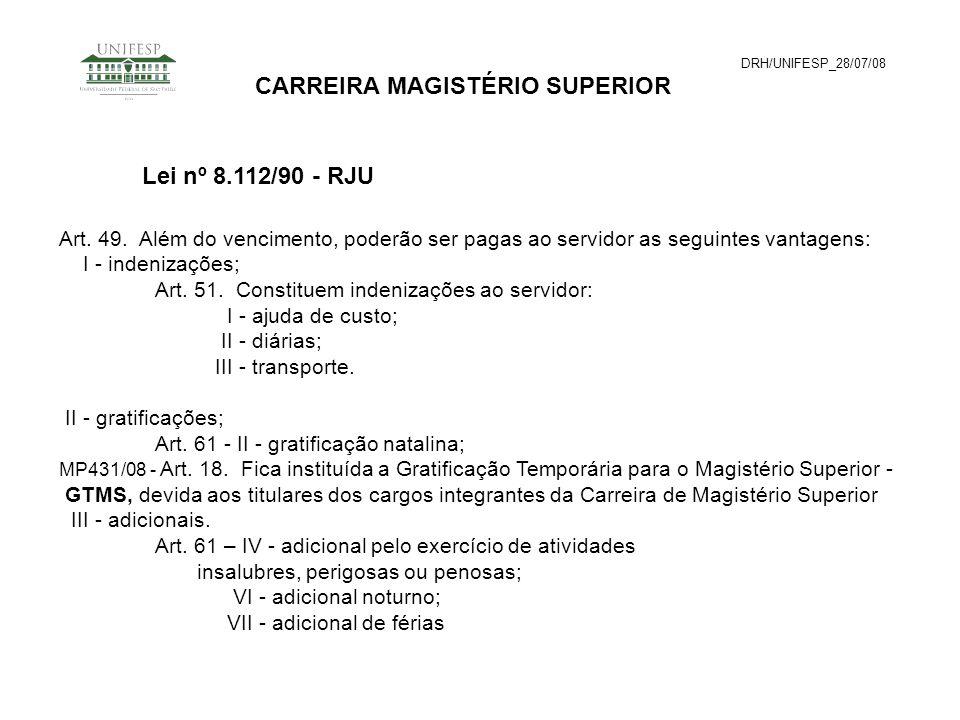 DRH/UNIFESP_28/07/08 CARREIRA MAGISTÉRIO SUPERIOR Art. 49. Além do vencimento, poderão ser pagas ao servidor as seguintes vantagens: I - indenizações;