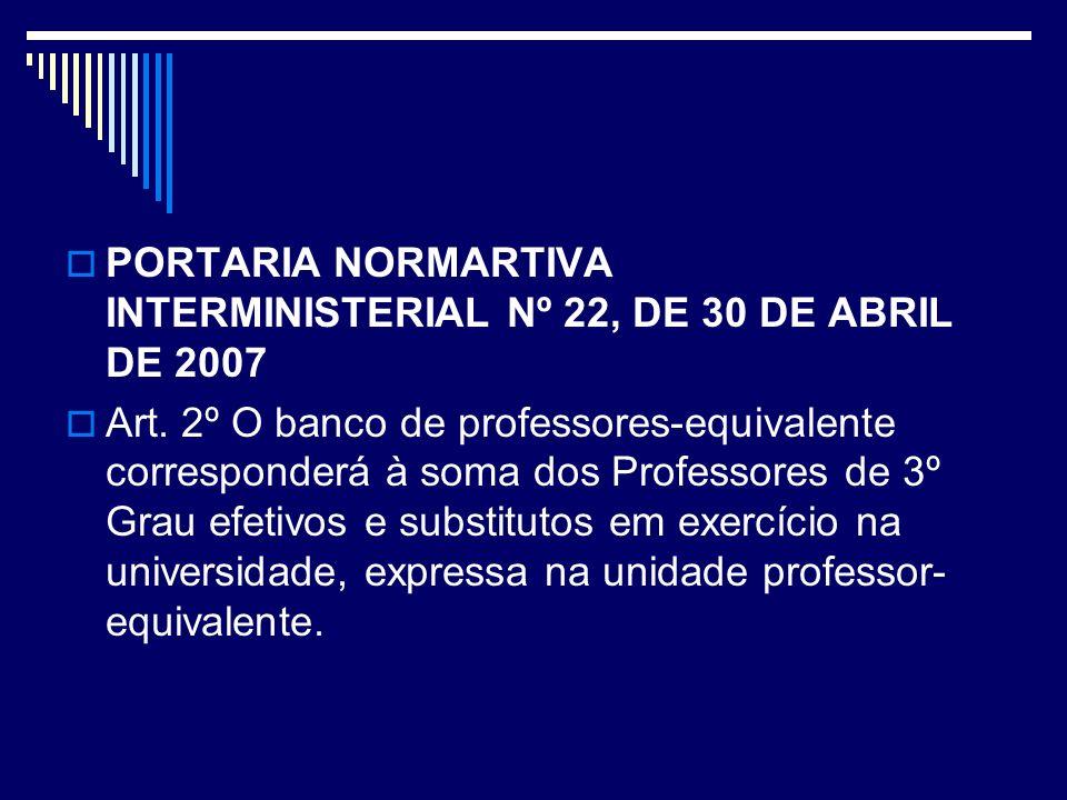 PORTARIA NORMARTIVA INTERMINISTERIAL Nº 22, DE 30 DE ABRIL DE 2007 Art. 2º O banco de professores-equivalente corresponderá à soma dos Professores de