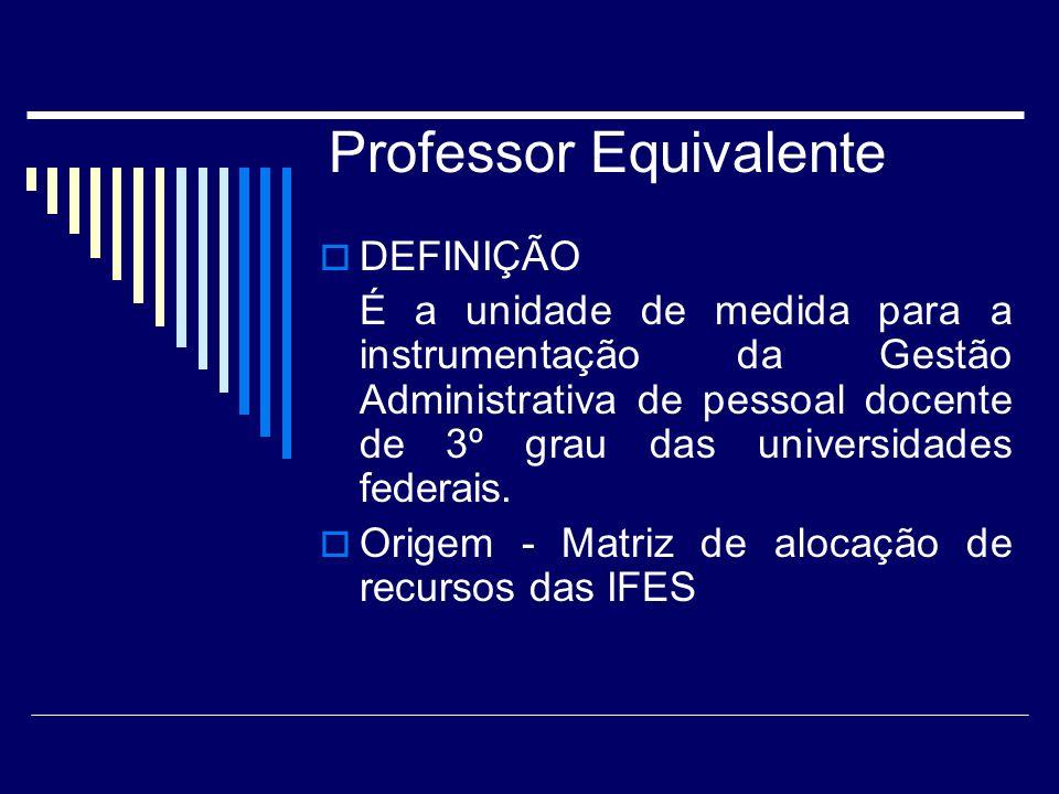 Professor Equivalente DEFINIÇÃO É a unidade de medida para a instrumentação da Gestão Administrativa de pessoal docente de 3º grau das universidades federais.