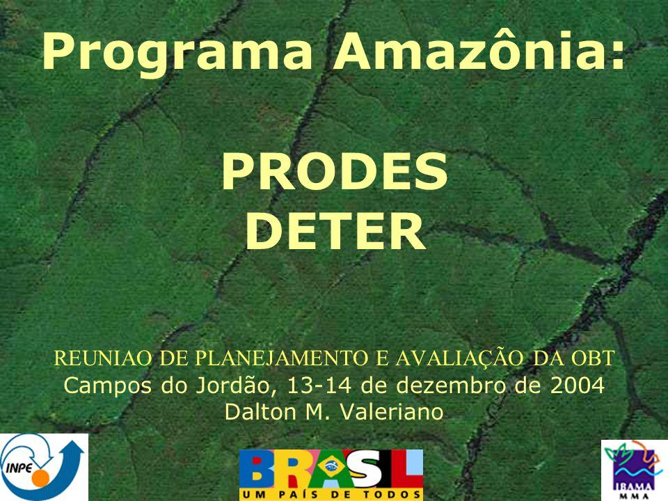 Programa Amazônia: PRODES DETER REUNIAO DE PLANEJAMENTO E AVALIAÇÃO DA OBT Campos do Jordão, 13-14 de dezembro de 2004 Dalton M.