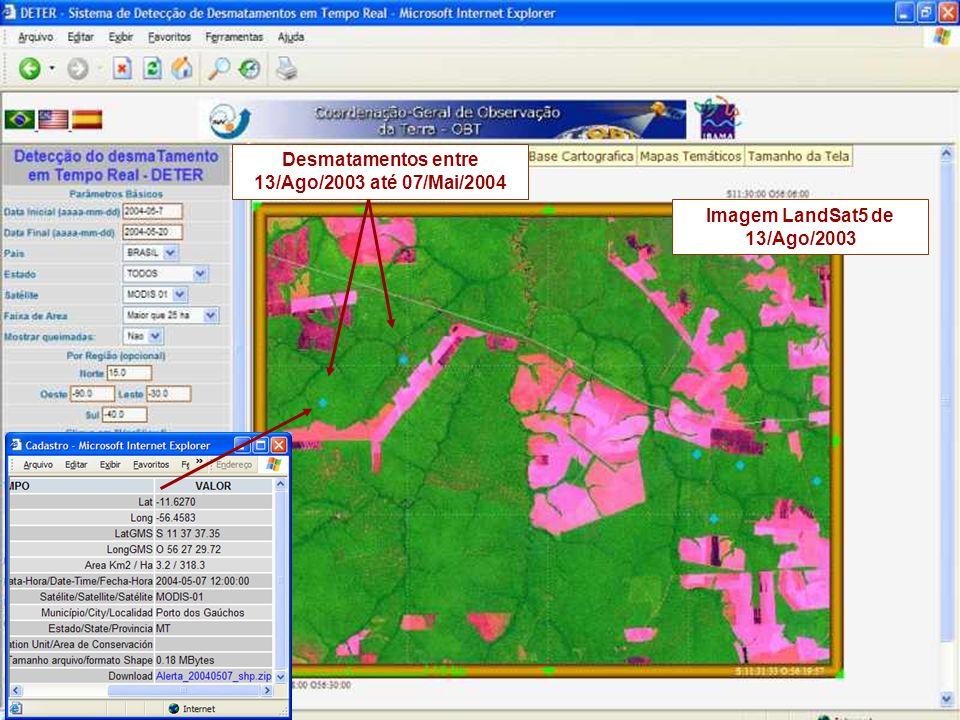 Desmatamentos entre 13/Ago/2003 até 07/Mai/2004 Imagem LandSat5 de 13/Ago/2003