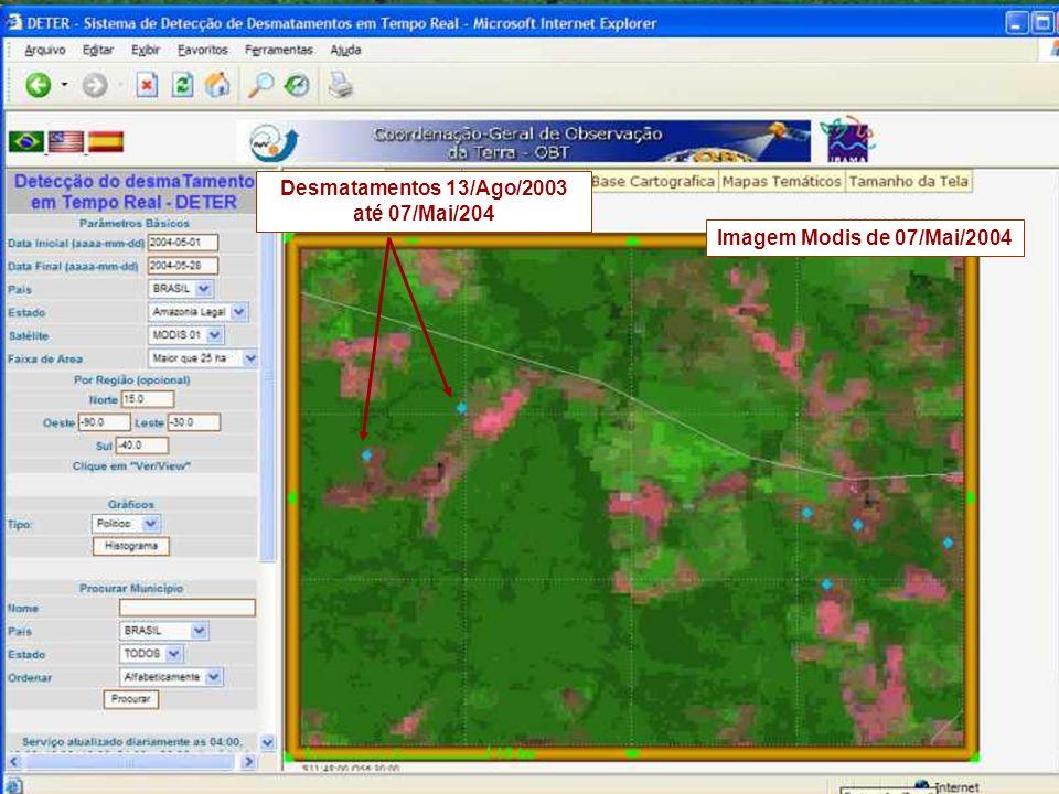 Desmatamentos 13/Ago/2003 até 07/Mai/204 Imagem Modis de 07/Mai/2004