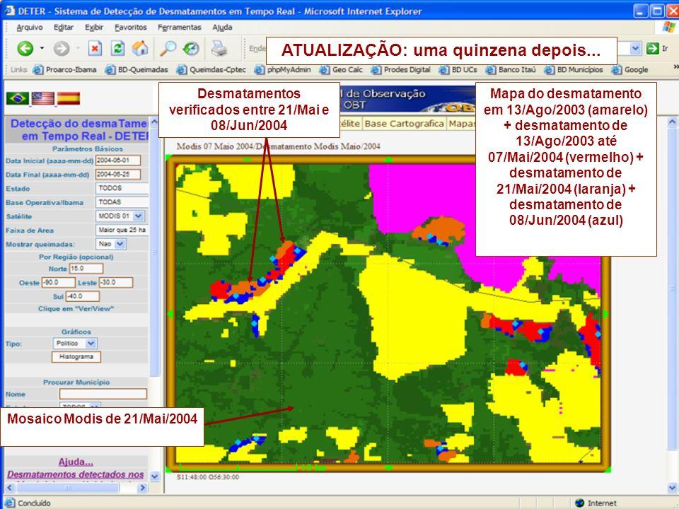 Desmatamentos verificados entre 21/Mai e 08/Jun/2004 Mapa do desmatamento em 13/Ago/2003 (amarelo) + desmatamento de 13/Ago/2003 até 07/Mai/2004 (vermelho) + desmatamento de 21/Mai/2004 (laranja) + desmatamento de 08/Jun/2004 (azul) Mosaico Modis de 21/Mai/2004 ATUALIZAÇÃO: uma quinzena depois...
