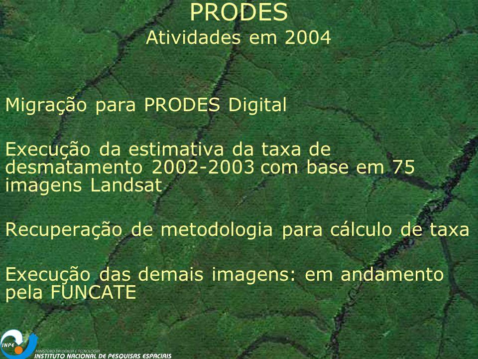 PRODES Atividades em 2004 Migração para PRODES Digital Execução da estimativa da taxa de desmatamento 2002-2003 com base em 75 imagens Landsat Recuperação de metodologia para cálculo de taxa Execução das demais imagens: em andamento pela FUNCATE