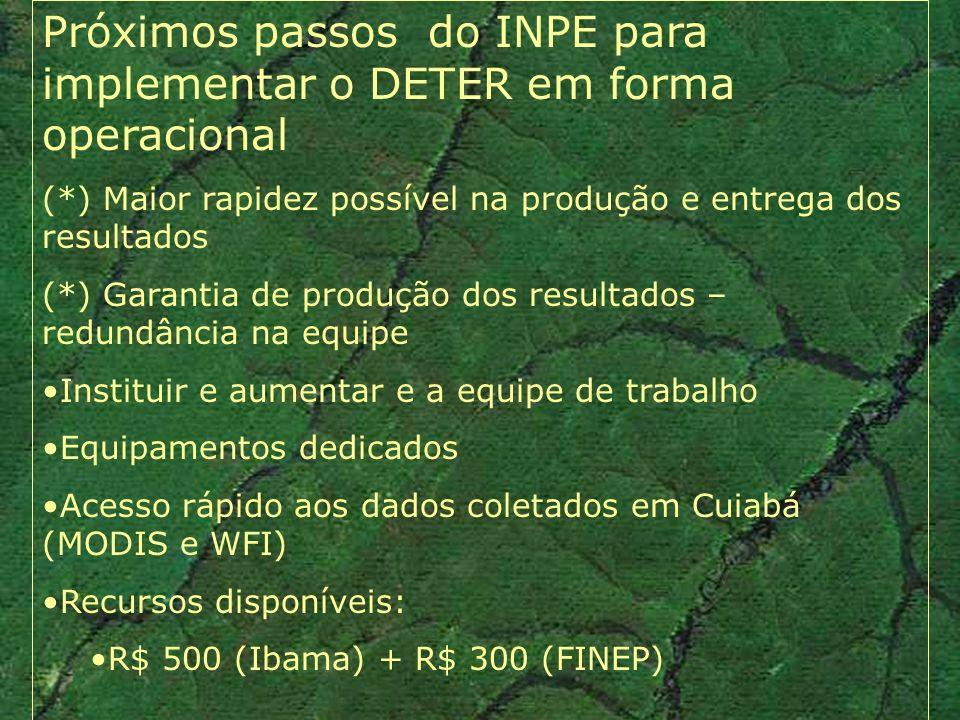 Próximos passos do INPE para implementar o DETER em forma operacional (*) Maior rapidez possível na produção e entrega dos resultados (*) Garantia de produção dos resultados – redundância na equipe Instituir e aumentar e a equipe de trabalho Equipamentos dedicados Acesso rápido aos dados coletados em Cuiabá (MODIS e WFI) Recursos disponíveis: R$ 500 (Ibama) + R$ 300 (FINEP)