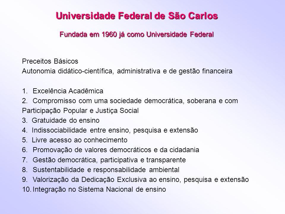 Universidade Federal de São Carlos Fundada em 1960 já como Universidade Federal Preceitos Básicos Autonomia didático-científica, administrativa e de g