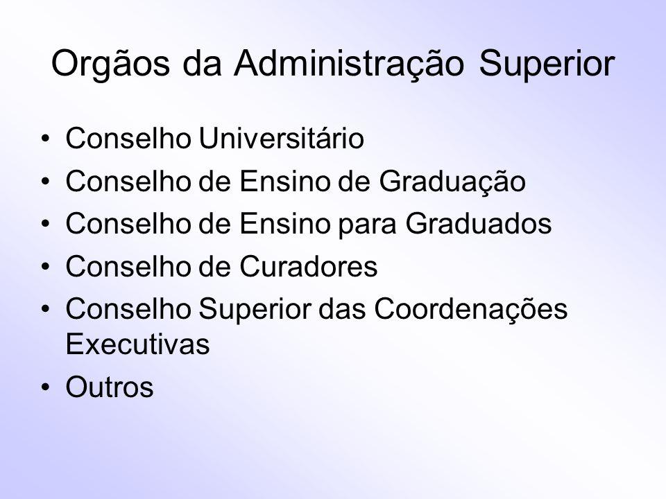 Orgãos da Administração Superior Conselho Universitário Conselho de Ensino de Graduação Conselho de Ensino para Graduados Conselho de Curadores Consel