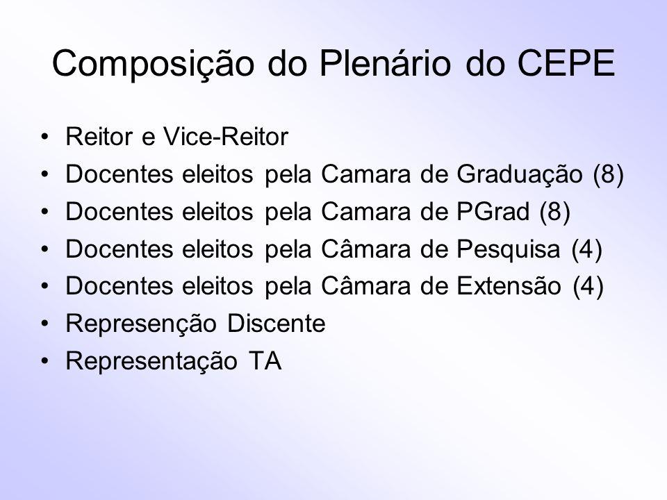 Composição do Plenário do CEPE Reitor e Vice-Reitor Docentes eleitos pela Camara de Graduação (8) Docentes eleitos pela Camara de PGrad (8) Docentes e