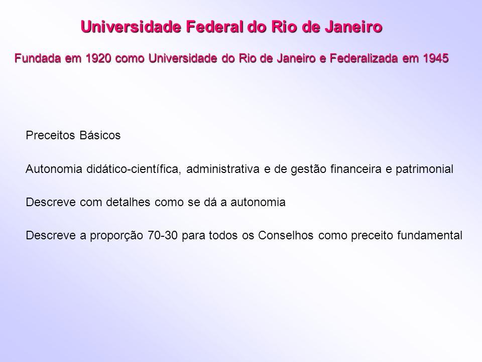 Universidade Federal do Rio de Janeiro Fundada em 1920 como Universidade do Rio de Janeiro e Federalizada em 1945 Preceitos Básicos Autonomia didático