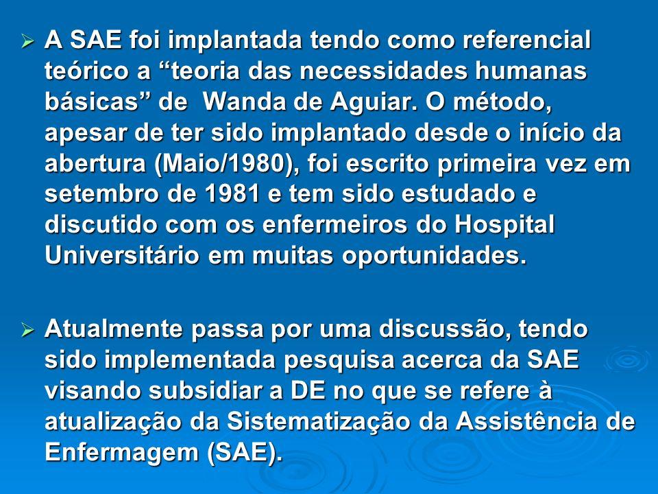 A SAE foi implantada tendo como referencial teórico a teoria das necessidades humanas básicas de Wanda de Aguiar. O método, apesar de ter sido implant
