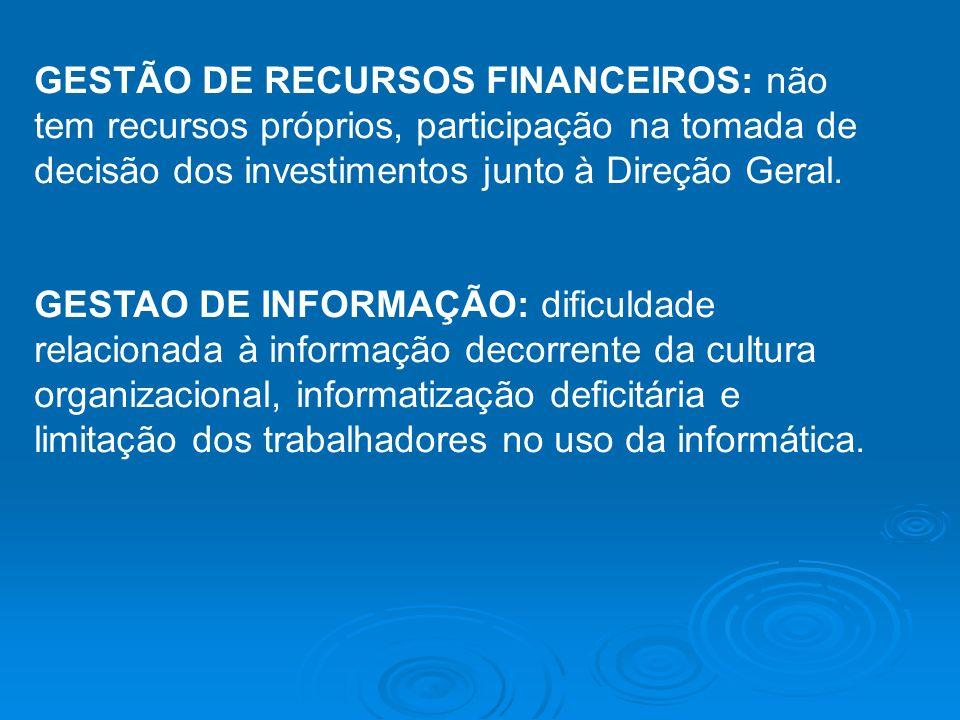 GESTÃO DE RECURSOS FINANCEIROS: não tem recursos próprios, participação na tomada de decisão dos investimentos junto à Direção Geral. GESTAO DE INFORM