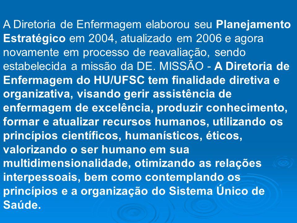 A Diretoria de Enfermagem elaborou seu Planejamento Estratégico em 2004, atualizado em 2006 e agora novamente em processo de reavaliação, sendo estabe