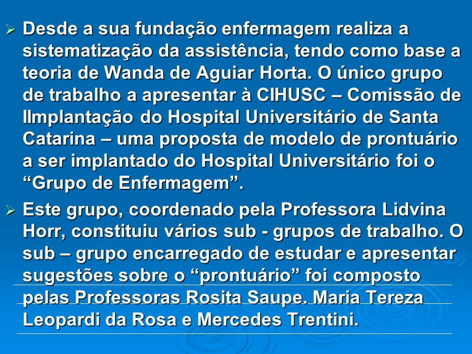 Desde a sua fundação enfermagem realiza a sistematização da assistência, tendo como base a teoria de Wanda de Aguiar Horta. O único grupo de trabalho
