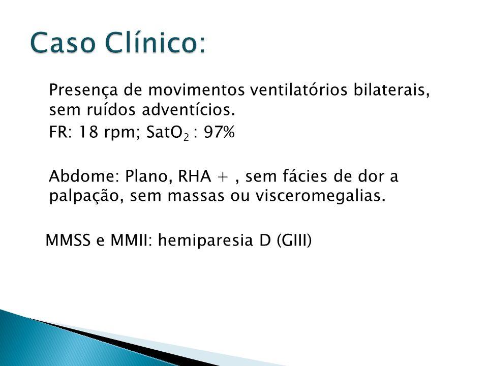 Presença de movimentos ventilatórios bilaterais, sem ruídos adventícios. FR: 18 rpm; SatO 2 : 97% Abdome: Plano, RHA +, sem fácies de dor a palpação,