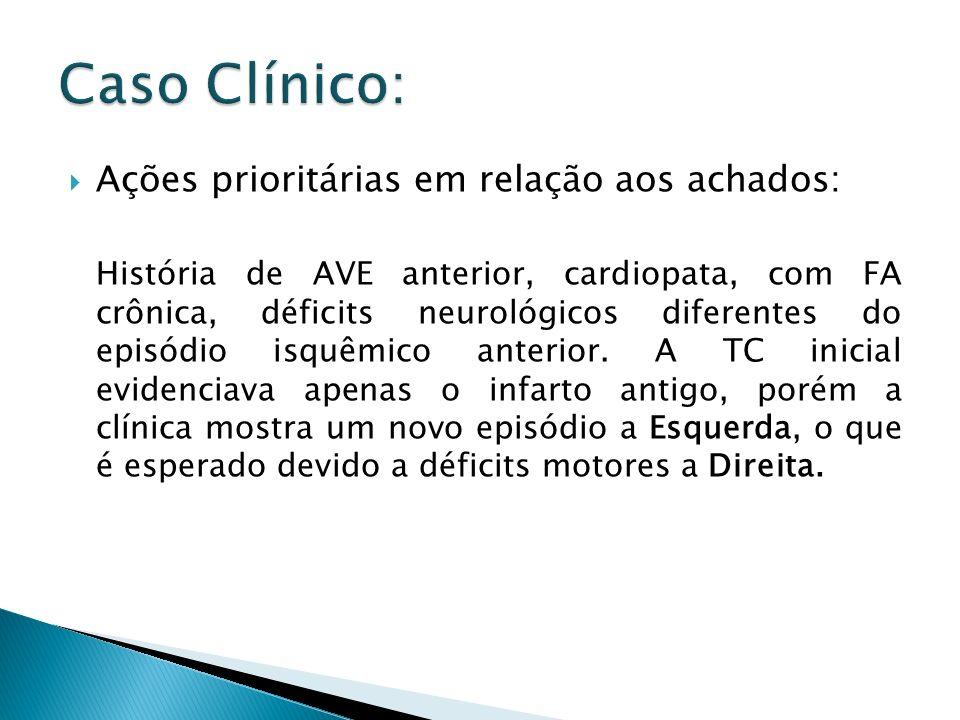 Ações prioritárias em relação aos achados: História de AVE anterior, cardiopata, com FA crônica, déficits neurológicos diferentes do episódio isquêmic
