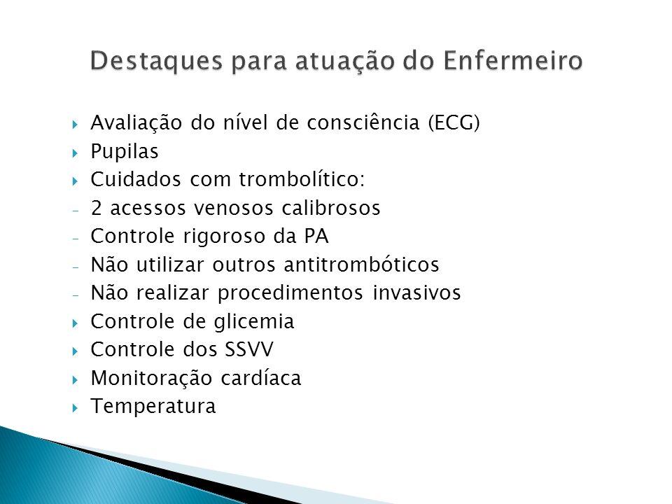 Avaliação do nível de consciência (ECG) Pupilas Cuidados com trombolítico: - 2 acessos venosos calibrosos - Controle rigoroso da PA - Não utilizar out
