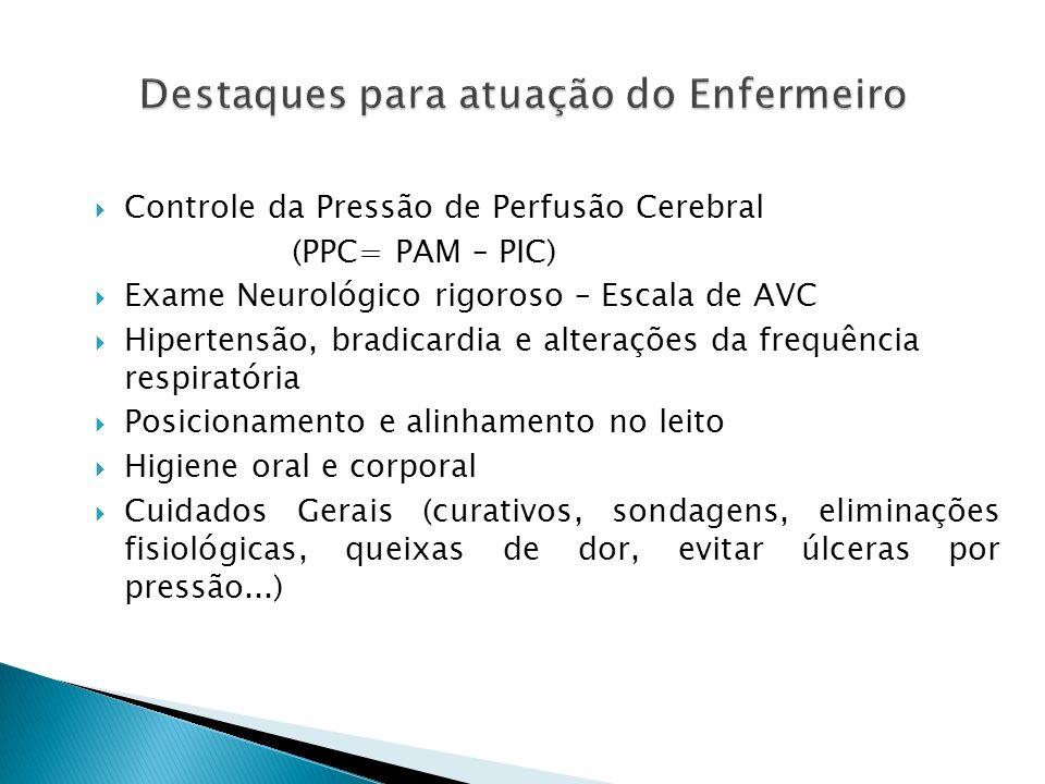 Controle da Pressão de Perfusão Cerebral (PPC= PAM – PIC) Exame Neurológico rigoroso – Escala de AVC Hipertensão, bradicardia e alterações da frequênc