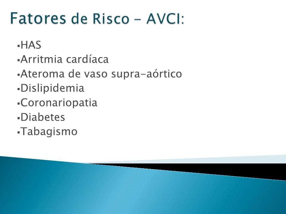 HAS Arritmia cardíaca Ateroma de vaso supra-aórtico Dislipidemia Coronariopatia Diabetes Tabagismo