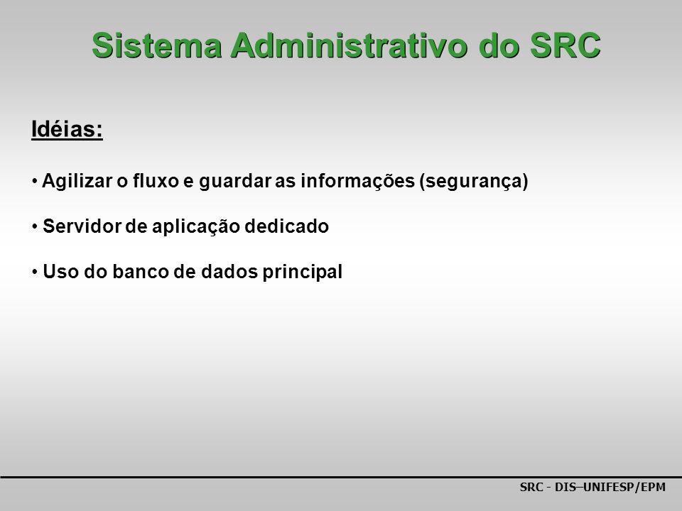 SRC - DIS–UNIFESP/EPM Idéias: Agilizar o fluxo e guardar as informações (segurança) Servidor de aplicação dedicado Uso do banco de dados principal Sistema Administrativo do SRC