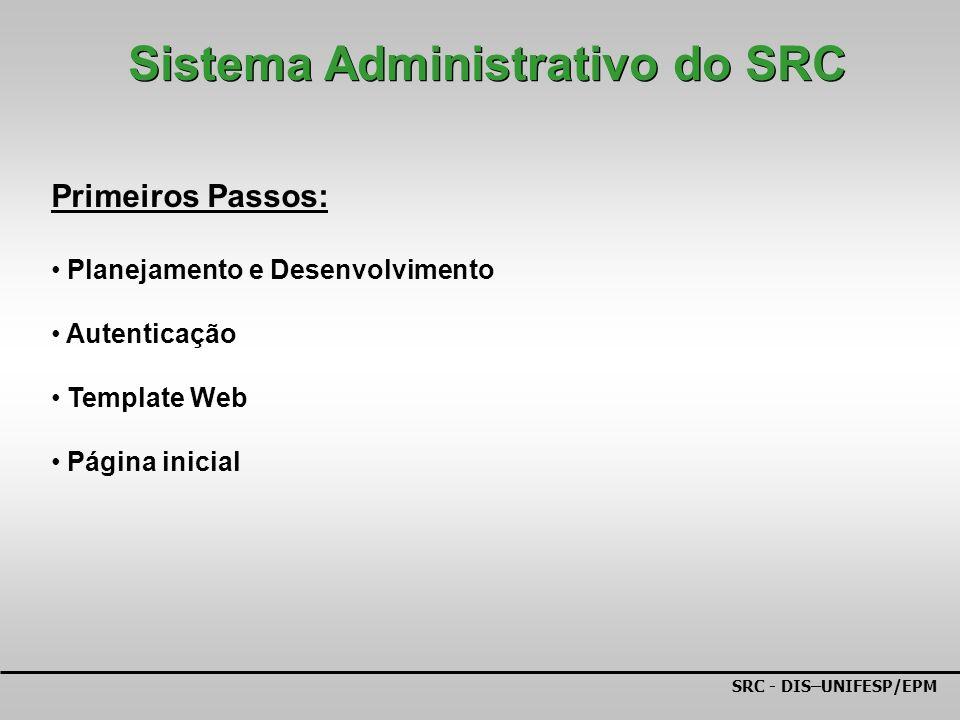 SRC - DIS–UNIFESP/EPM Primeiros Passos: Planejamento e Desenvolvimento Autenticação Template Web Página inicial Sistema Administrativo do SRC