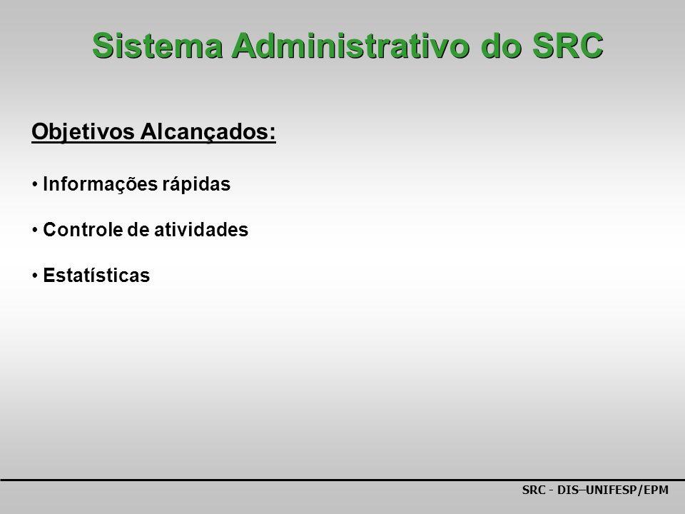 SRC - DIS–UNIFESP/EPM Objetivos Alcançados: Informações rápidas Controle de atividades Estatísticas Sistema Administrativo do SRC