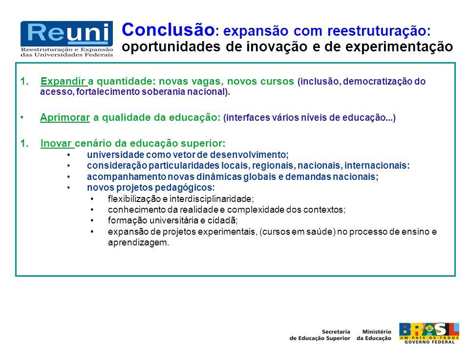 Conclusão : expansão com reestruturação: oportunidades de inovação e de experimentação 1. Expandir a quantidade: novas vagas, novos cursos (inclusão,