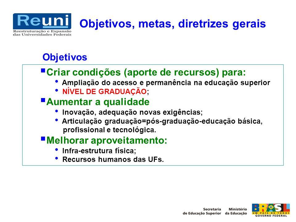Objetivos, metas, diretrizes gerais Criar condições (aporte de recursos) para: Ampliação do acesso e permanência na educação superior NÍVEL DE GRADUAÇ