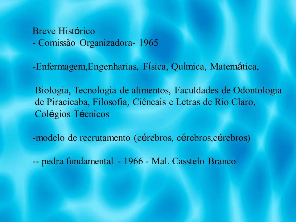 Breve Hist ó rico - Comissão Organizadora- 1965 -Enfermagem,Engenharias, F í sica, Qu í mica, Matem á tica, Biologia, Tecnologia de alimentos, Faculdades de Odontologia de Piracicaba, Filosofia, Ciêncais e Letras de Rio Claro, Col é gios T é cnicos -modelo de recrutamento (c é rebros, c é rebros,c é rebros) -- pedra fundamental - 1966 - Mal.