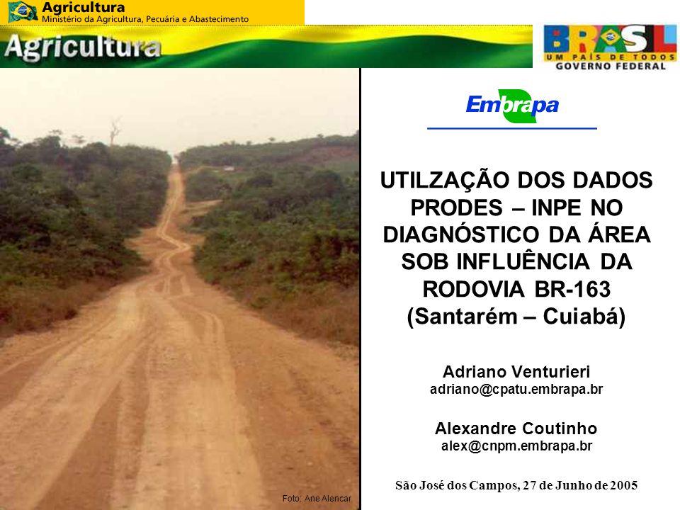 UTILZAÇÃO DOS DADOS PRODES – INPE NO DIAGNÓSTICO DA ÁREA SOB INFLUÊNCIA DA RODOVIA BR-163 (Santarém – Cuiabá) Adriano Venturieri adriano@cpatu.embrapa