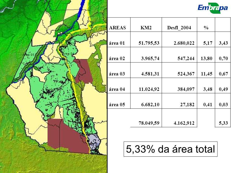 5,33% da área total AREASKM2Desfl_2004% área 0151.795,532.680,0225,173,43 área 023.965,74547,24413,800,70 área 034.581,31524,36711,450,67 área 0411.02