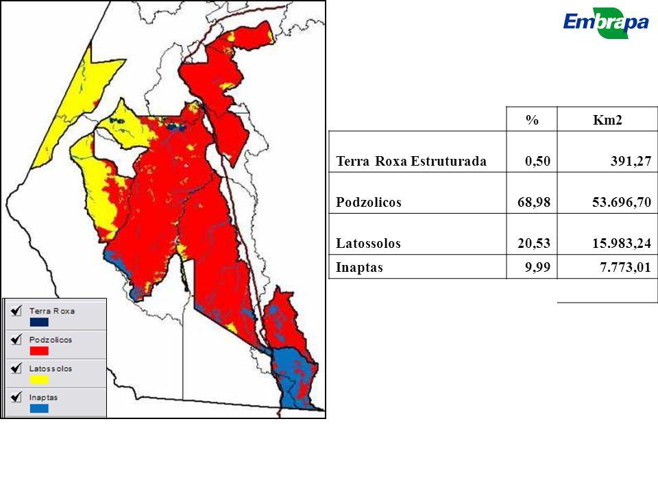%Km2 Terra Roxa Estruturada0,50391,27 Podzolicos68,9853.696,70 Latossolos20,5315.983,24 Inaptas9,997.773,01