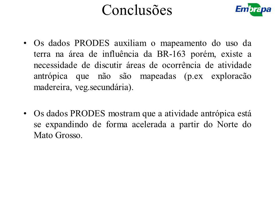 Conclusões Os dados PRODES auxiliam o mapeamento do uso da terra na área de influência da BR-163 porém, existe a necessidade de discutir áreas de ocor