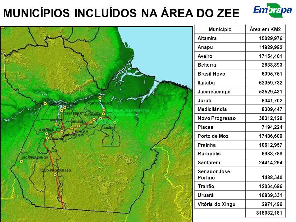 MUNICÍPIOS INCLUÍDOS NA ÁREA DO ZEE MunicípioÁrea em KM2 Altamira15029,976 Anapu11929,992 Aveiro17154,401 Belterra2638,893 Brasil Novo6395,751 Itaitub