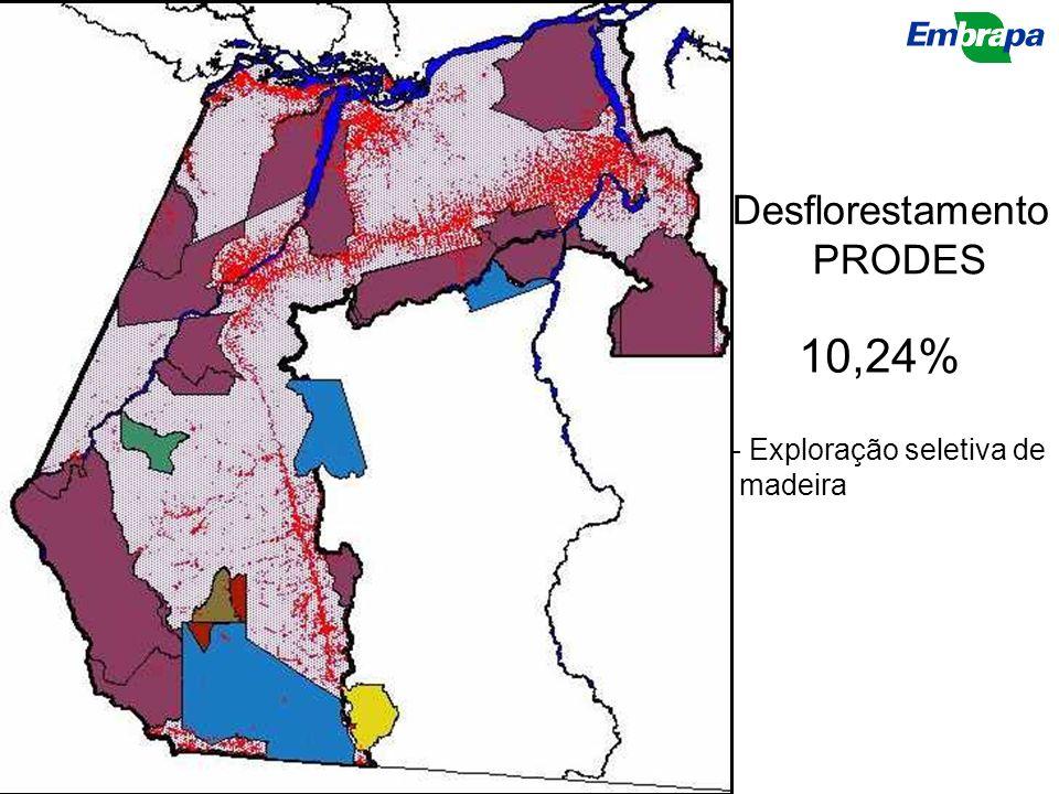 Desflorestamento PRODES 10,24% - Exploração seletiva de madeira