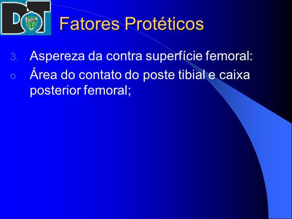 Fatores Protéticos 3. Aspereza da contra superfície femoral: o Área do contato do poste tibial e caixa posterior femoral;