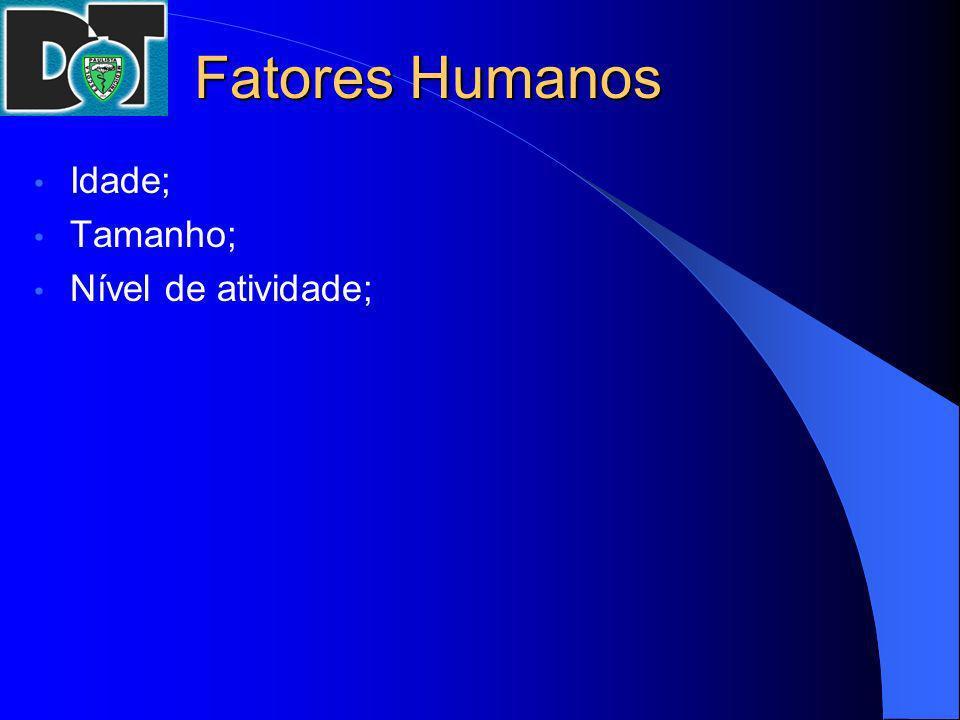 Fatores Humanos Idade; Tamanho; Nível de atividade;