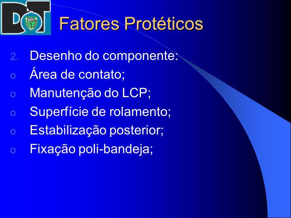 Fatores Protéticos 2. Desenho do componente: o Área de contato; o Manutenção do LCP; o Superfície de rolamento; o Estabilização posterior; o Fixação p