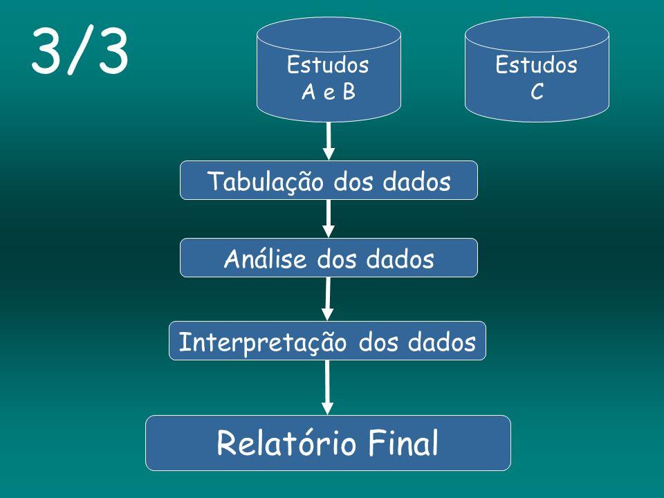 Estudos A e B Estudos C Tabulação dos dadosAnálise dos dados Interpretação dos dados 3/3 Relatório Final
