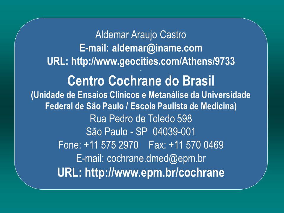 Aldemar Araujo Castro E-mail: aldemar@iname.com URL: http://www.geocities.com/Athens/9733.. Centro Cochrane do Brasil (Unidade de Ensaios Clínicos e M