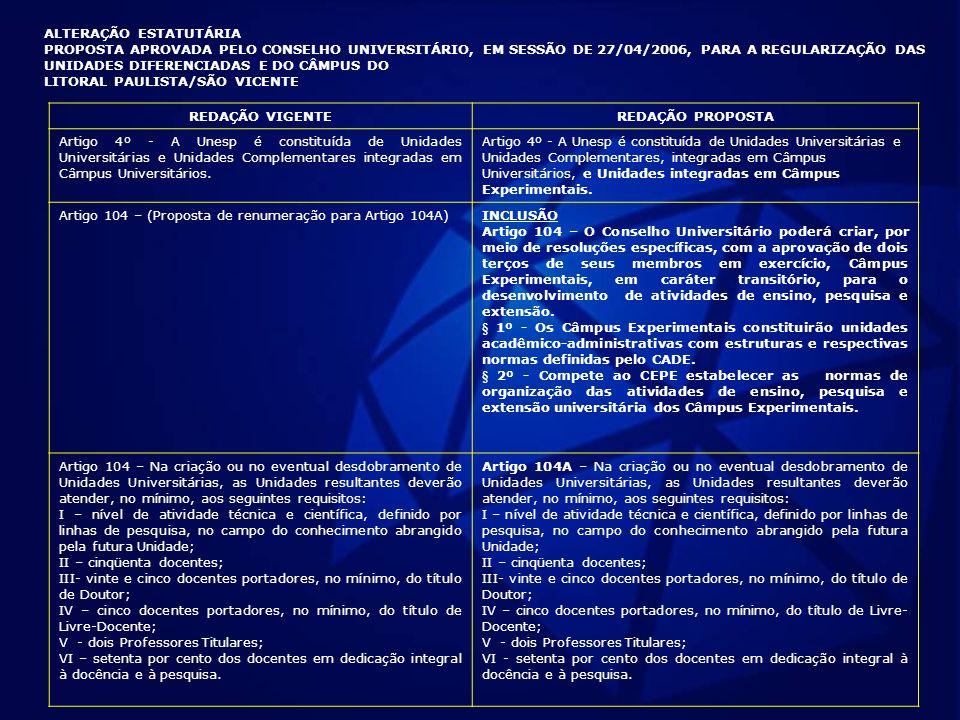 ALTERAÇÃO ESTATUTÁRIA PROPOSTA APROVADA PELO CONSELHO UNIVERSITÁRIO, EM SESSÃO DE 27/04/2006, PARA A REGULARIZAÇÃO DAS UNIDADES DIFERENCIADAS E DO CÂM