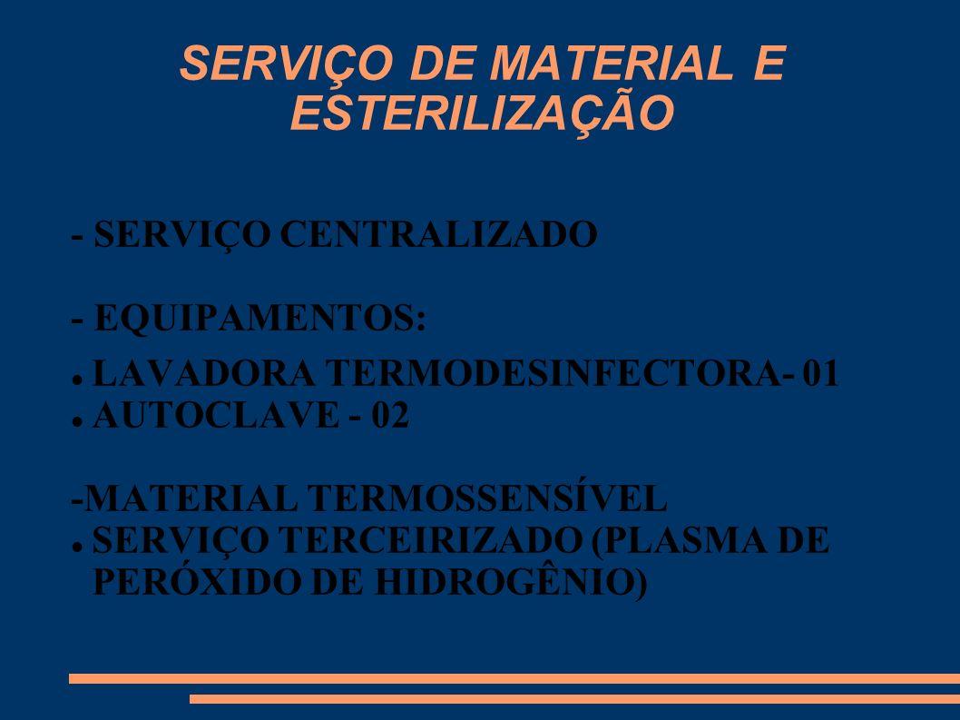 SERVIÇO DE MATERIAL E ESTERILIZAÇÃO - SERVIÇO CENTRALIZADO - EQUIPAMENTOS: LAVADORA TERMODESINFECTORA- 01 AUTOCLAVE - 02 -MATERIAL TERMOSSENSÍVEL SERV